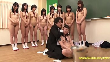 Jav Schoolgirls Made To Bully Classmate By Crazy Teacher Head Pushed