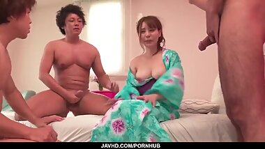Miu Tsukino makes magic on two very stiff dicks - More at javhd.net