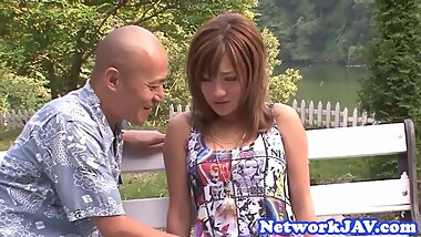 Asian beauty doggystyled outdoors