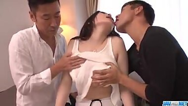 Big tits milf, Rie Tachikawa, goes nasty on two younger dick